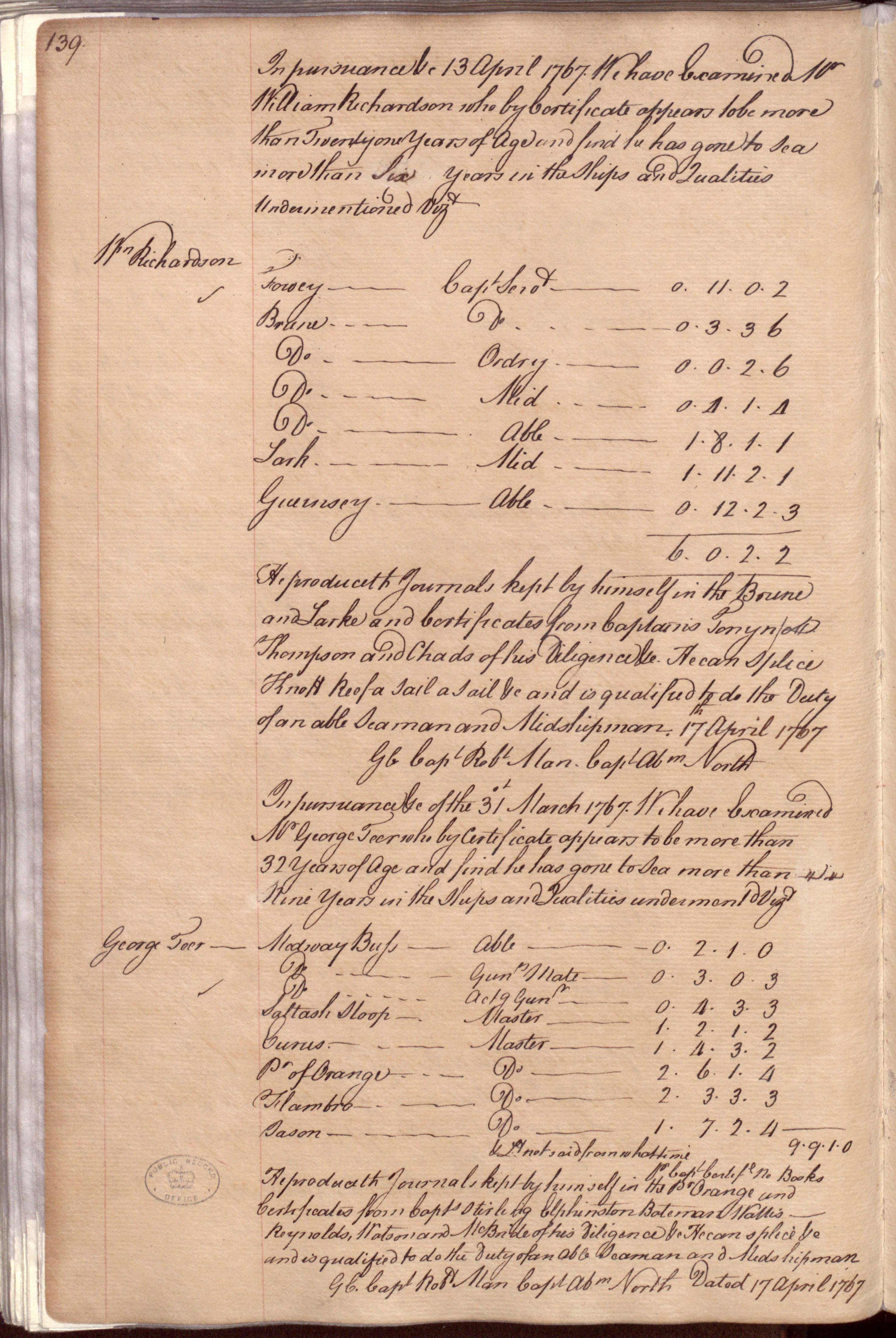 William Richardson's Lieutenant's Passing Certificate of 17 April 1767 takes up the top half of this page. (ADM 107/6, 139)